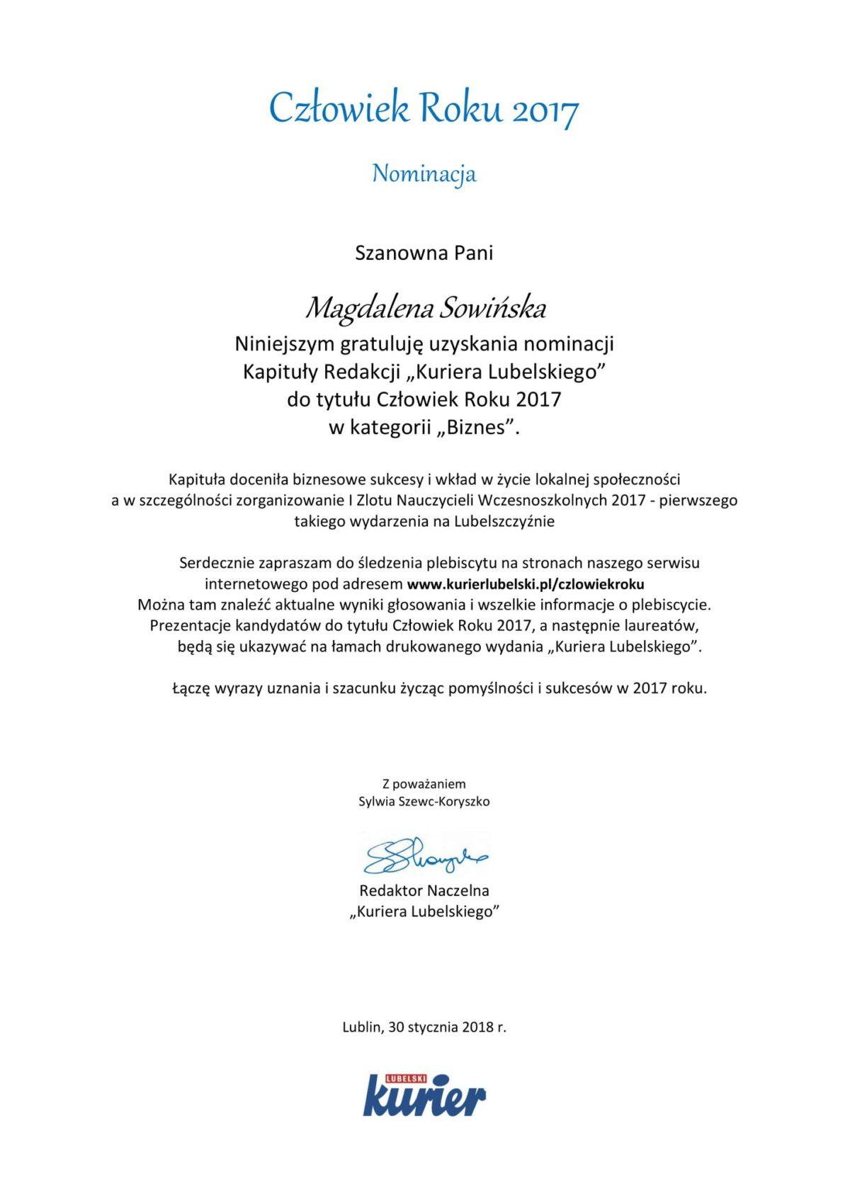 Nominacja do nagrody Człowiek Roku 2017 Magdalena Sowińska